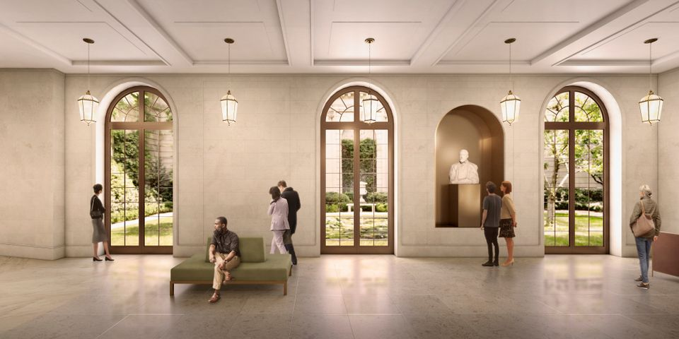 A rendering of the Frick Collection Reception Hall looking east towards the 70th Street Garden