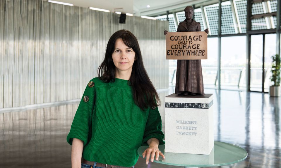 Gillian Wearing with the model of her Millicent Fawcett sculpture
