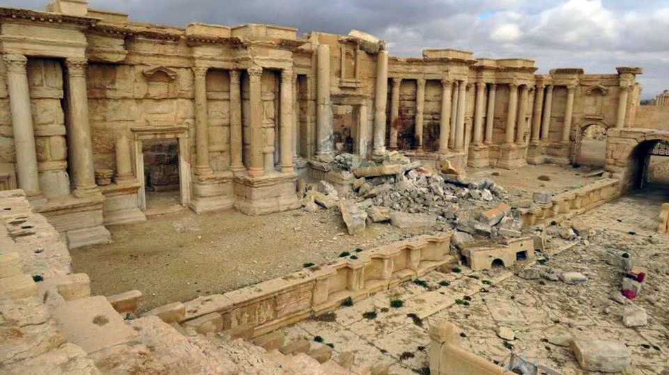 Early images of damage caused by Isil at Palmyra's Roman theatre after the city was retaken by Syrian and Russian forces in March 2017