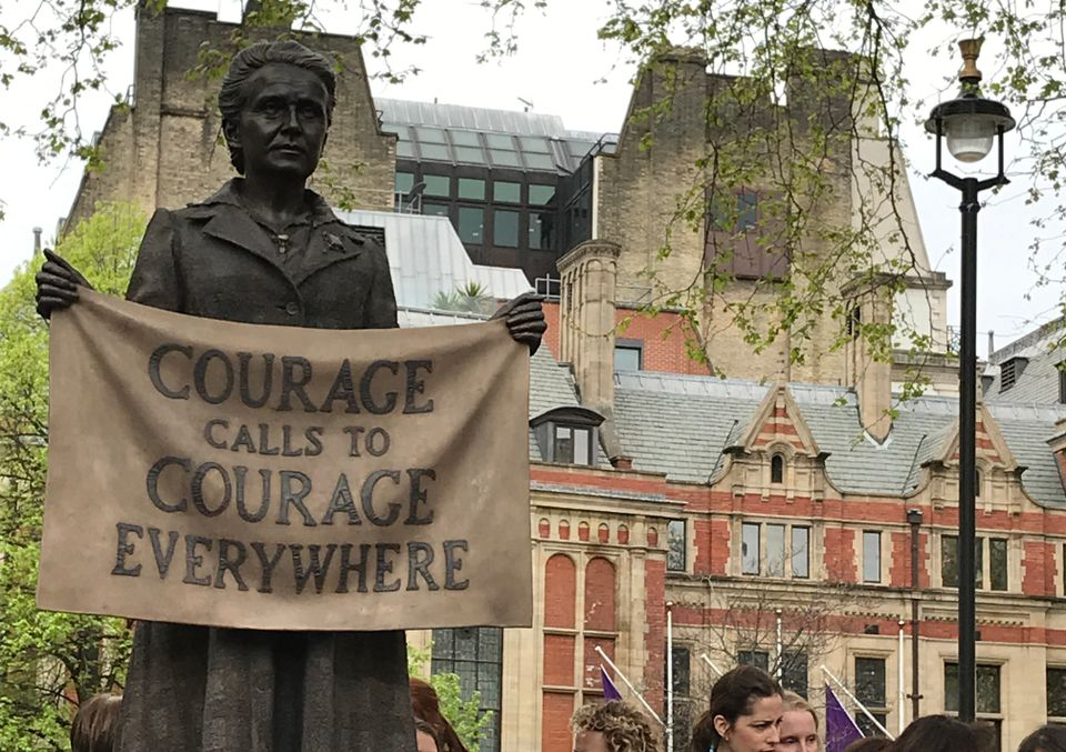 Gillian Wearing's statue commemorating the life of Suffragist Millicent Fawcett in Parliament Square