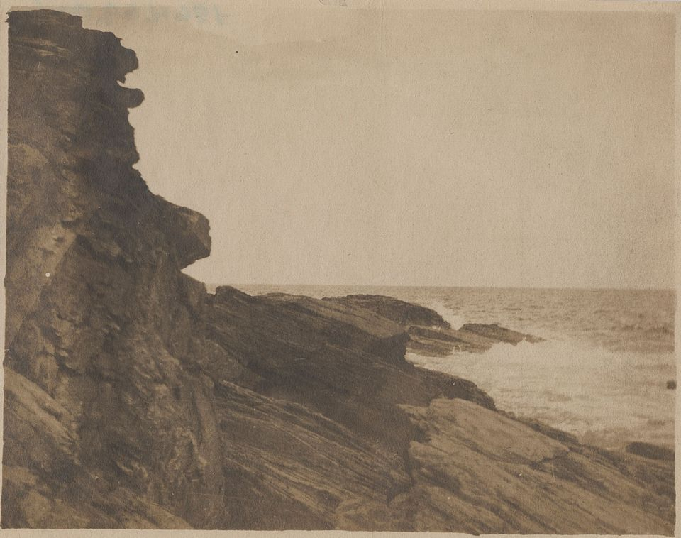 Cliff at Prout's Neck, around 1885, albumen silver print by Winslow Homer.