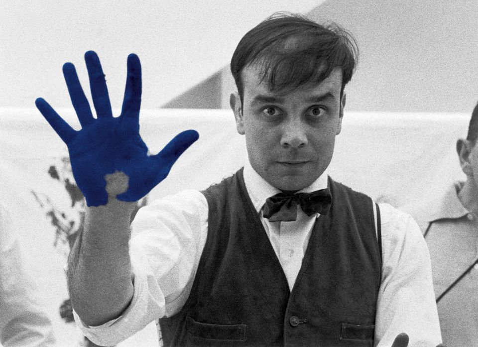 Yves Klein during the shooting The Heartbeat of France, a documentary by Peter Morley