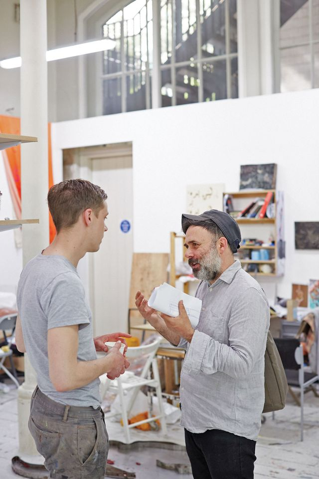 Third-year tutor and artist Brian Griffiths with Martin Gross, who graduated from the Schools last year