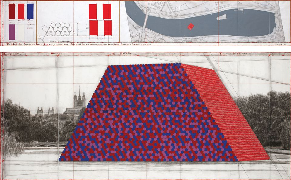 The Serpentine Mastaba will be made from 7,506stacked oil barrels floating on the lake