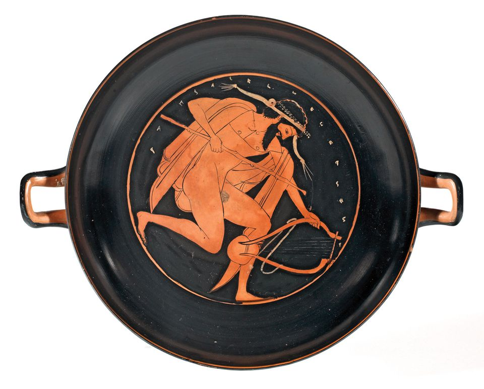 A man with a lyre and a staff (around 500 BC), attributed to the circle of the Nikosthenes Painter