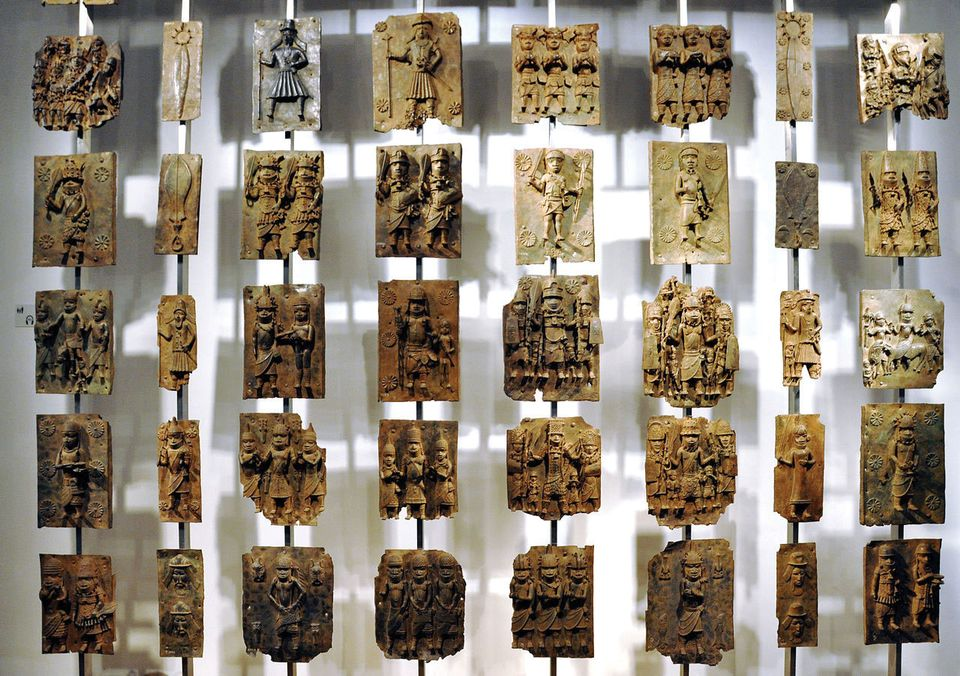 "Cast brass plaques, known as ""bronzes"", are among around 700 Benin objects in the British Museum's collection"