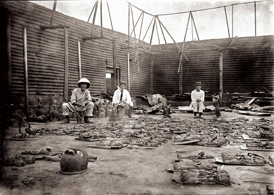 Above, three British officers with their plunder after the siege of Benin City in 1897