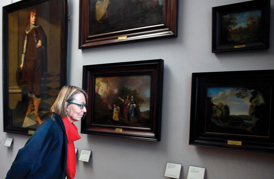 French culture minister Françoise Nyssen views the Louvre's display of looted works