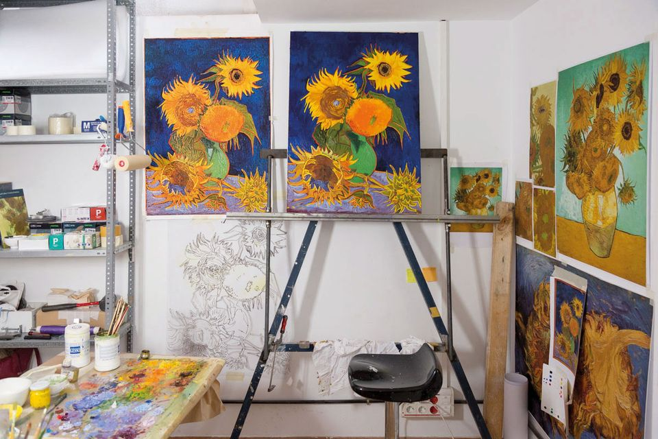 Brushstrokes on another of Van Gogh's sunflower paintings were used to create the copy