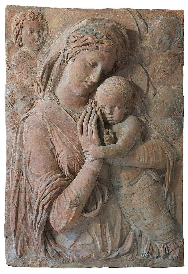 Donatello's Madonna with Cherubim (around 1440) after the fire. There are insufficient records to enable a full-colour restoration