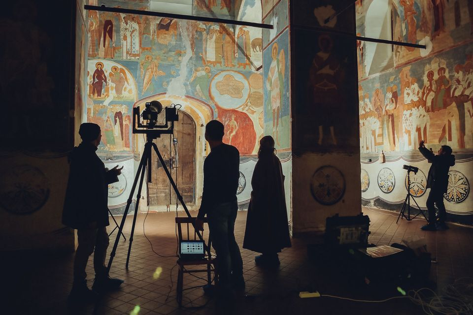 Technicians digitise the frescoes in the Ferapontov Monastery in northern Russia