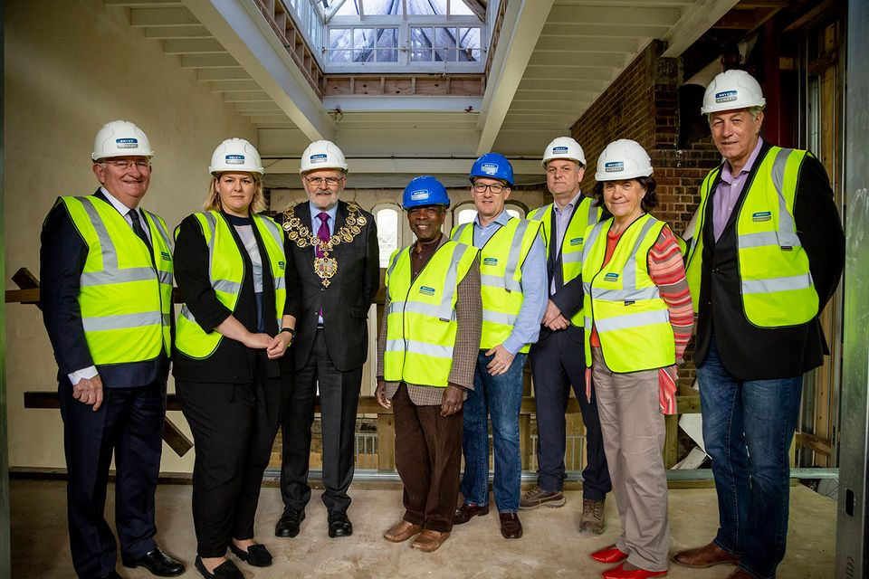 From left to right: the warden of Goldsmiths, Patrick Loughrey; the Goldsmiths CCA director, Sarah McCrory; the mayor of Lewisham, Steve Bullock; the councillor for Brockley, Obajimi Adefiranye; the councillor for New Cross, Paul Maslin; the director of Bryen & Langley, Andrew Macpherson; the councillor for Telegraph Hill, Joan Millbank; and the head of the department of art at Goldsmiths, Richard Noble