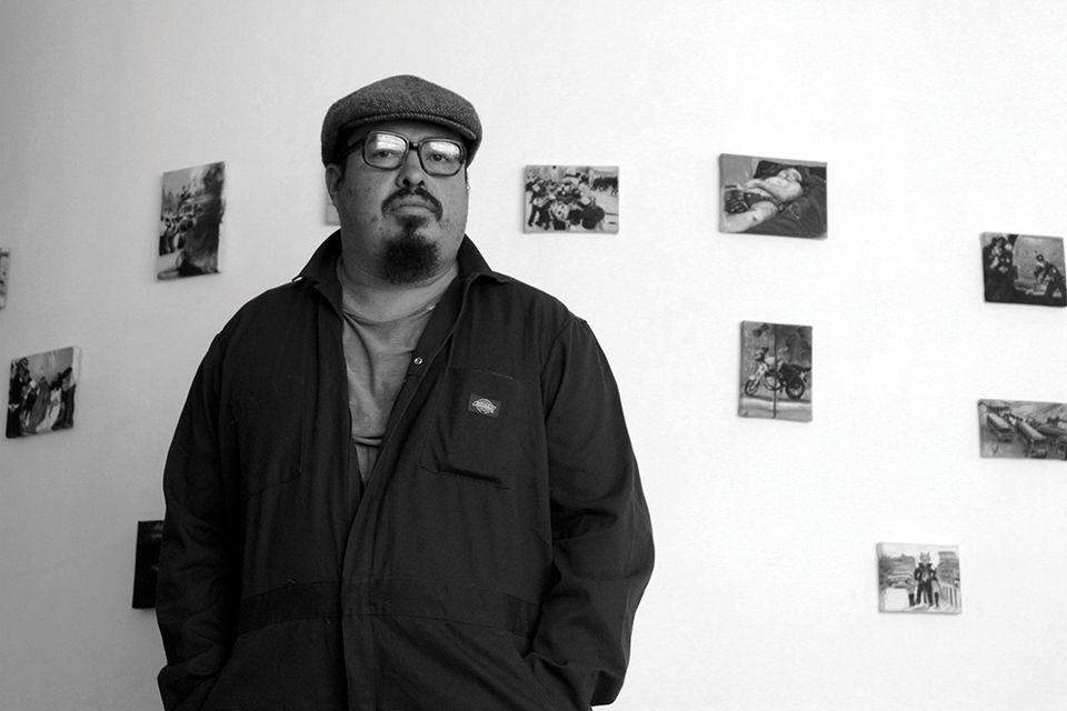 "Jorge de León, showing with Proyectos Ultravioleta, Guatemala City. ""I'm showing a body of work that serves as a record of daily life in my city, executed through traditional miniature painting and simple drawings. The majority of images that I have translated to canvas are everyday occurrences taken from mass media, the tabloid press and social media. The drawings are personal reflections inspired by observation, reading and informal conversation."""