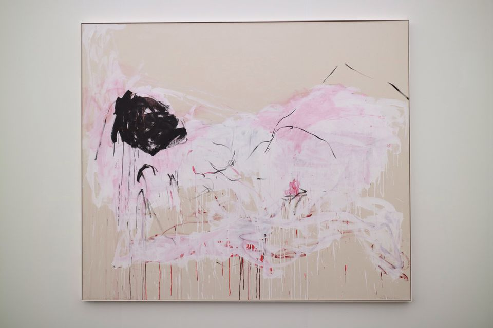 """Tracey Emin, You destroyed my mind— You made me Feel like This (2018) at Xavier Hufkens: The gallery's solo presentation of Tracey Emin's paintings, sculptures and neons includes several of the UK artist's abstracted female nudes, all of which Minter liked—but she chose this work in acrylic and pencil on canvas """"because of the black mask"""". What does she like about Emin's work? """"She's raw and honest and doesn't pull her punches,"""" she says. """"She makes me think of something a little bit disturbing—or a lot disturbing."""""""