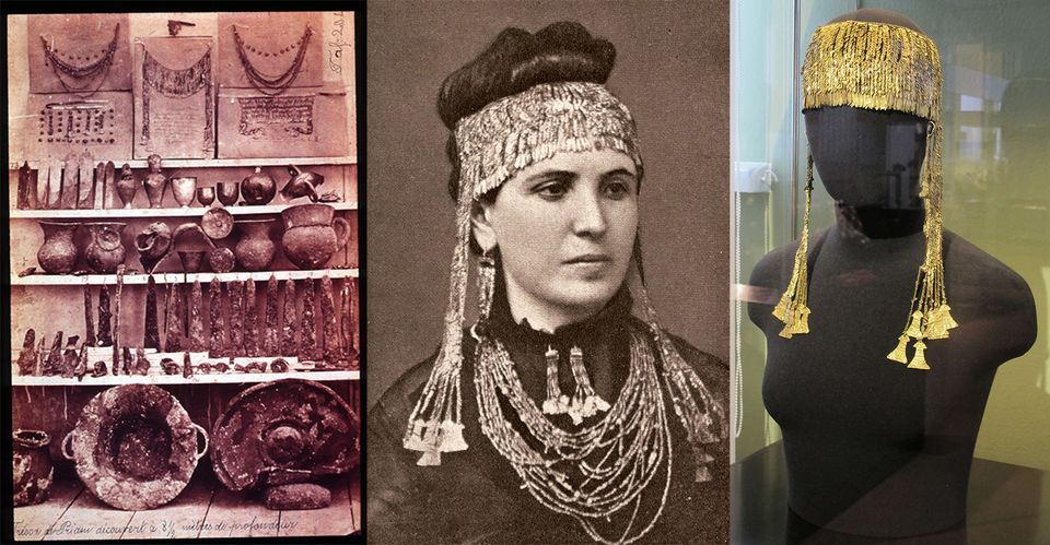 """Schliemann identified a hoard of gold objects he found at the site as """"Priam's Treasure"""", including a pair of gold diadems, referred to as the """"Jewels of Helen"""". He smuggled them out of Turkey and, in an ill-judged publicity stunt, had his wife photographed wearing much of the jewelry. The works were looted again by the Red Army during the Second World War, and are now in the Pushkin Museum in Moscow"""