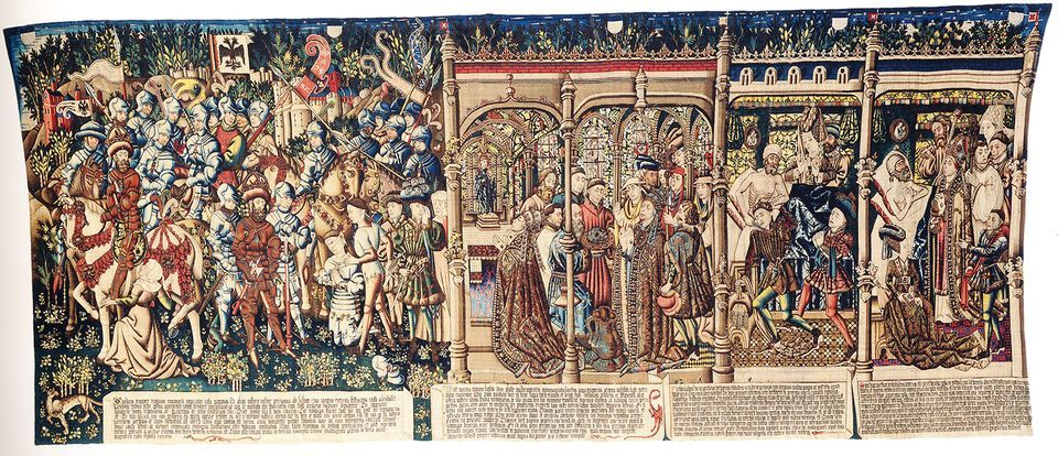 Featured in The Museum of Lost Art: a tapestry copy of The Justice of Trajan and Herkinbald now in the Historical Museum of Bern