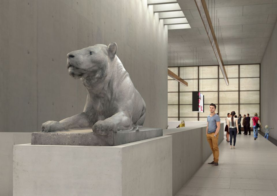 August Gaul, Lying Lion by  (1903) was returned to the heirs of Felicia Lachmann-Mosse in 2015. It will go on show in the new James Simon Gallery, the entrance building for Museum Island currently under construction.