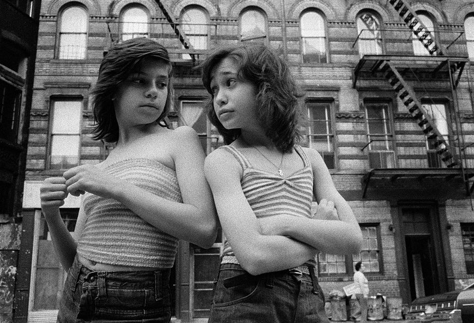 Susan Meiselas, Dee and Lisa on Mott Street, Little Italy, New York City, USA, 1976