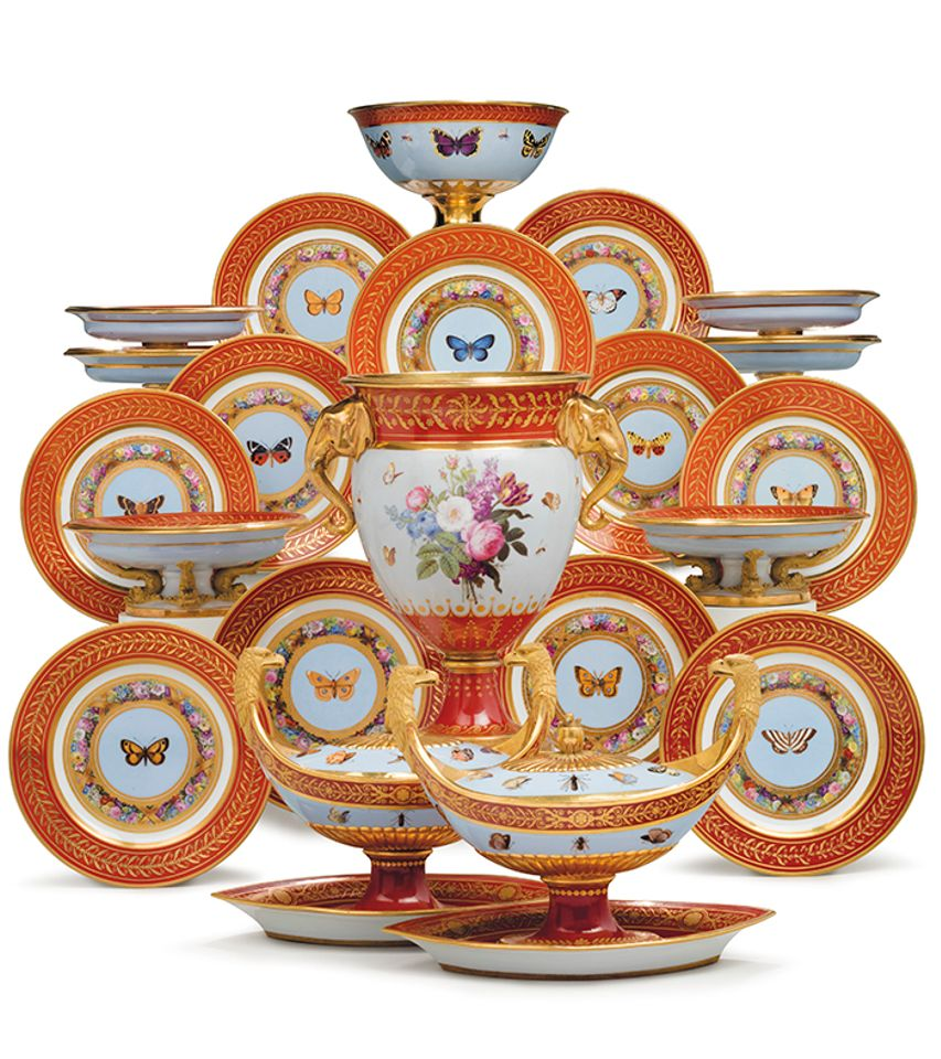 A Sèvres dessert service made for Emperor Napoleon I fetched $1.8m, a record for the genre