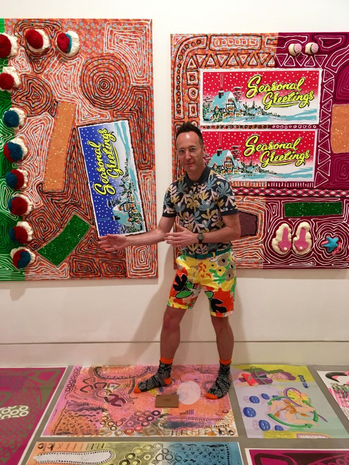 Strike a pose... John Walter pays homage to Bruce McLean amidst his maximalist capsid show