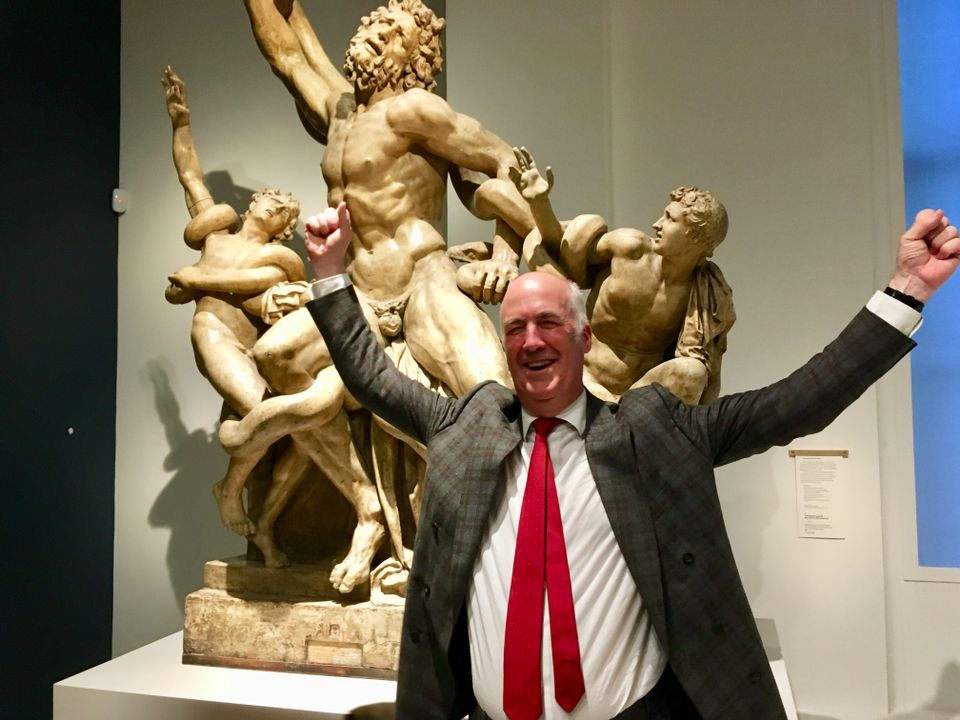 The Royal Academy's secretary and chief executive Charles Saumarez Smith whoops it up with Laocoon and his sons