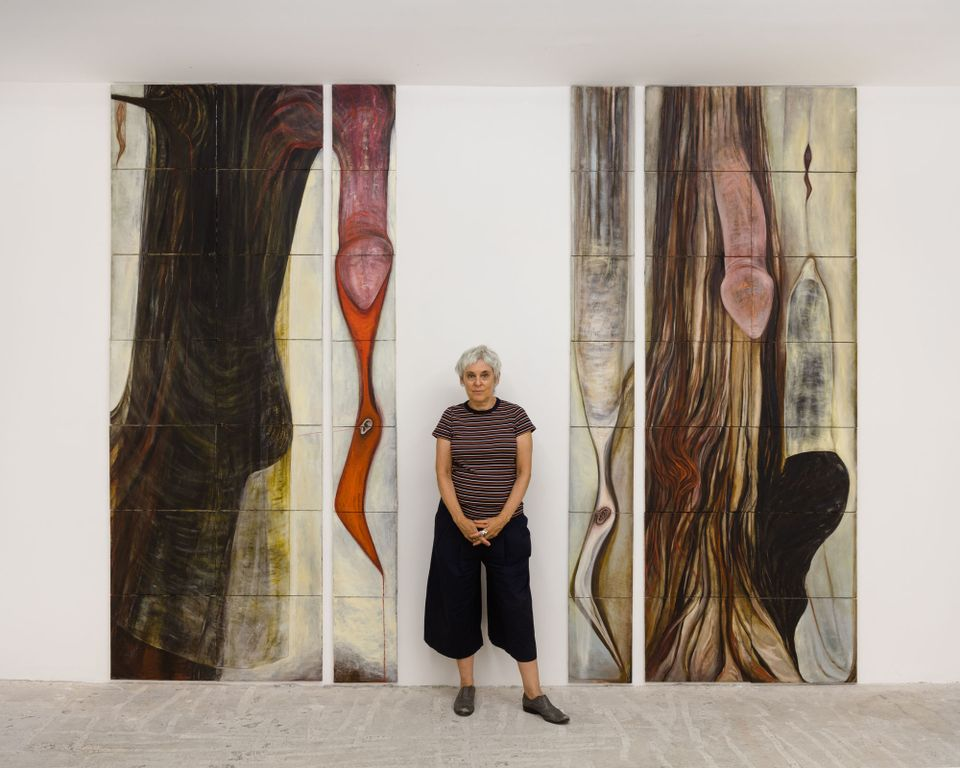Mira Schor with her Dick Paintings
