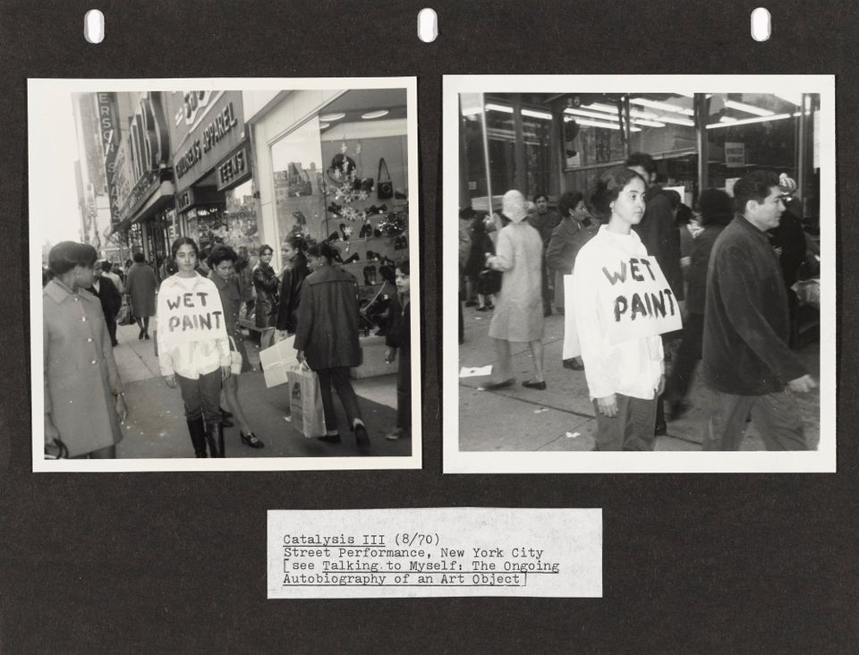 Adrian Piper Catalysis III. 1970. Documentation of the performance. Two gelatin silver prints and text mounted on colored paper. Overall 8 1/2 × 11 in. (21.6 × 27.9 cm). Photographs by Rosemary Mayer. Collection Thomas Erben, New York