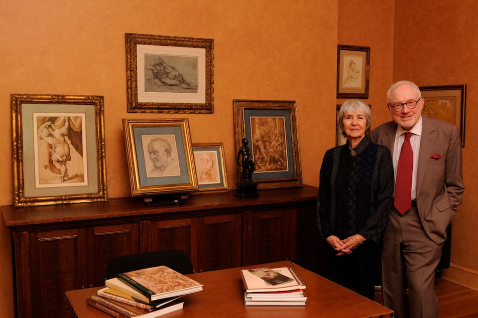 Mary and Richard Gray with drawings from their collection