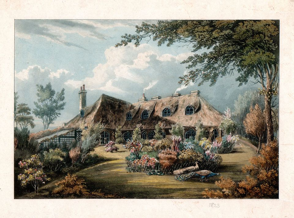 "Understanding Englishness: the thatched and picturesque Knowle Cottage, Sidmouth, Devon (around 1823), ""one of the most spectacular examples of the entire Cottage Orné genre"""
