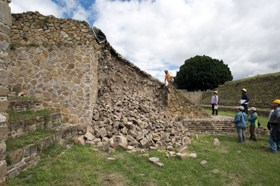 Monte Albán, part of the ball court wall collapsed after the quake.
