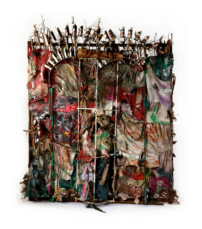 Thornton Dial, History Refused to Die (2004) Okra stalks and roots, clothing, collaged drawings, tin, wire, steel, Masonite, steel chain, enamel, spray paint 8 ft. 6 in. x 87 in. x 23 in. (259.1 x 221 x 58.4 cm) The Metropolitan Museum of Art, New York, Gift of Souls Grown Deep Foundation from the William S. Arnett Collection, 2014