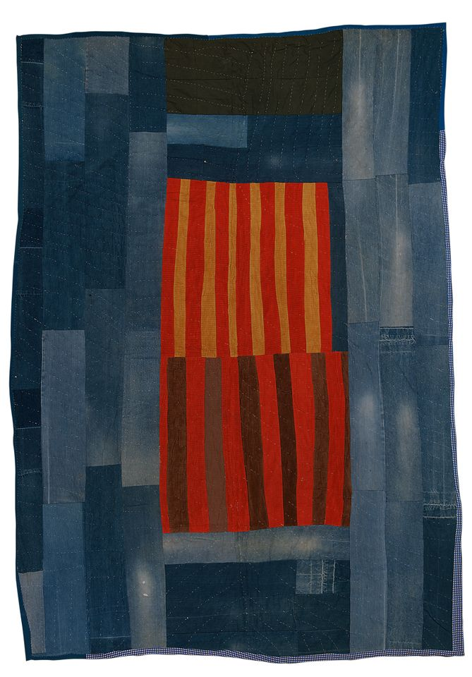 Annie Mae Young, (American 1928–2012) Work-clothes quilt with center medallion of strips, 1976 Denim, corduroy, and synthetic blends (britches legs with pockets) 8 ft. 8 1/2 in. × 77 in. (265.4 × 195.6 cm) The Metropolitan Museum of Art, Gift of Souls Grown Deep Foundation from the William S. Arnett Collection, 2014