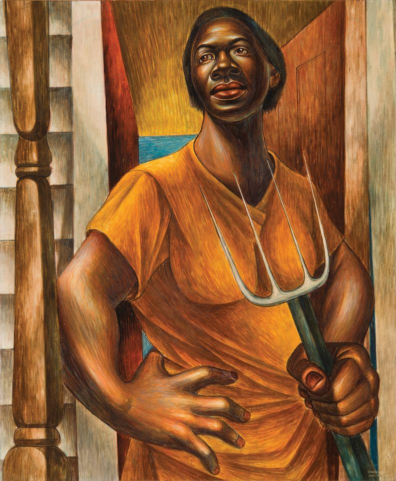 "A sharecropper is depicted in Our Land (1951), one of White's ""images of dignity"""
