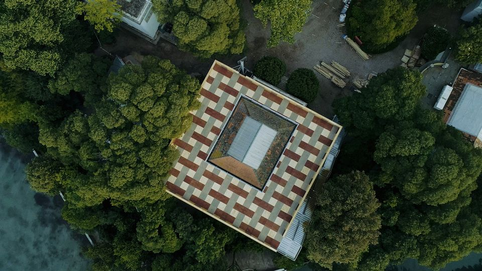 A bird's-eye view of Island at the British Pavilion for the Venice Architecture Biennale 2018