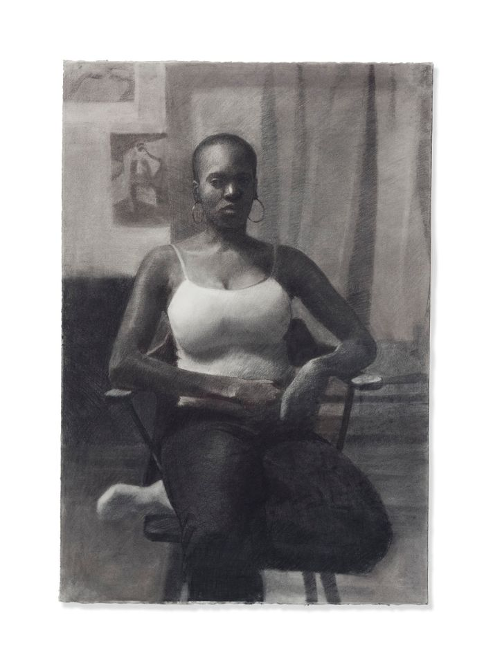 Veiled Sorrow (around 2008), a charcoal on paper work by Njideka Akunyili Crosby, is estimated at £120,000–£180,000 in Christie's Post-War to Present auction