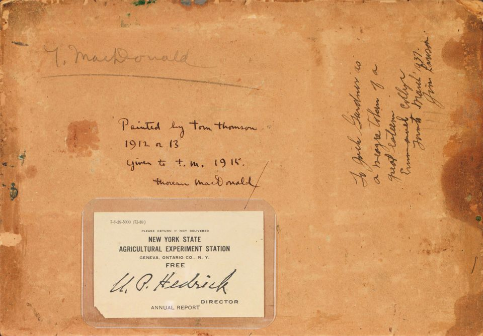 Tom Thomson, Sketch for Lake in Algonquin Park (1913). An inscription attributing the work to Thomson was found hidden underneath a past label for the New York State Agricultural Experiment Station