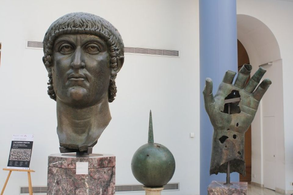 The head, hand and sphere from the colossal bronze statue of Constantine I in the Capitoline Museums in Rome