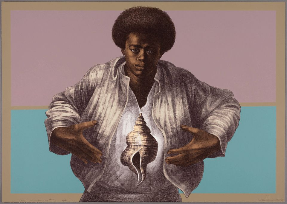 Charles White's Sound of Silence (1978) printed by David Panosh and published by Hand Graphics, Ltd.