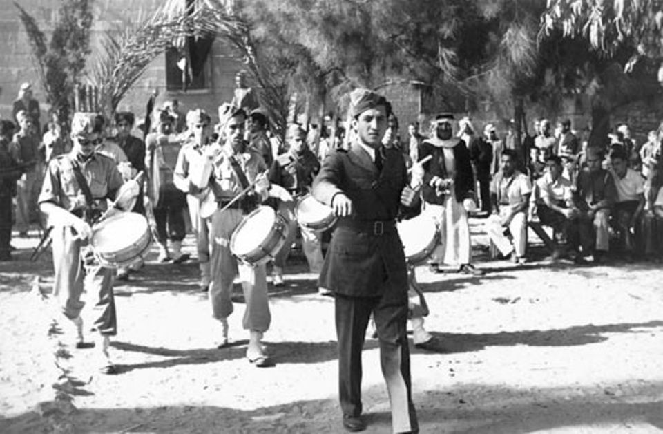 A photograph of a marching band (date unknown) from the Irasel Defence Forces Archive
