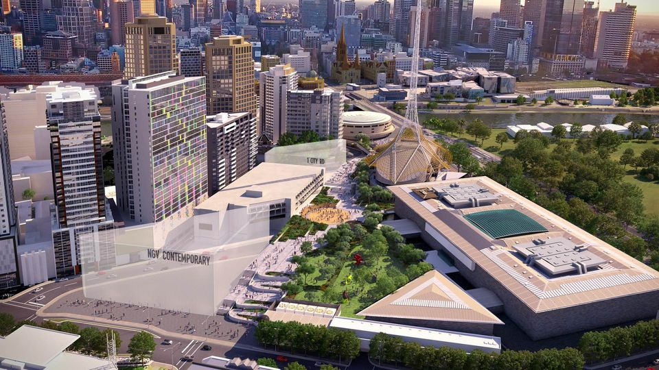 A rendering of the Melbourne Arts Precinct with the planned NGV Contemporary building