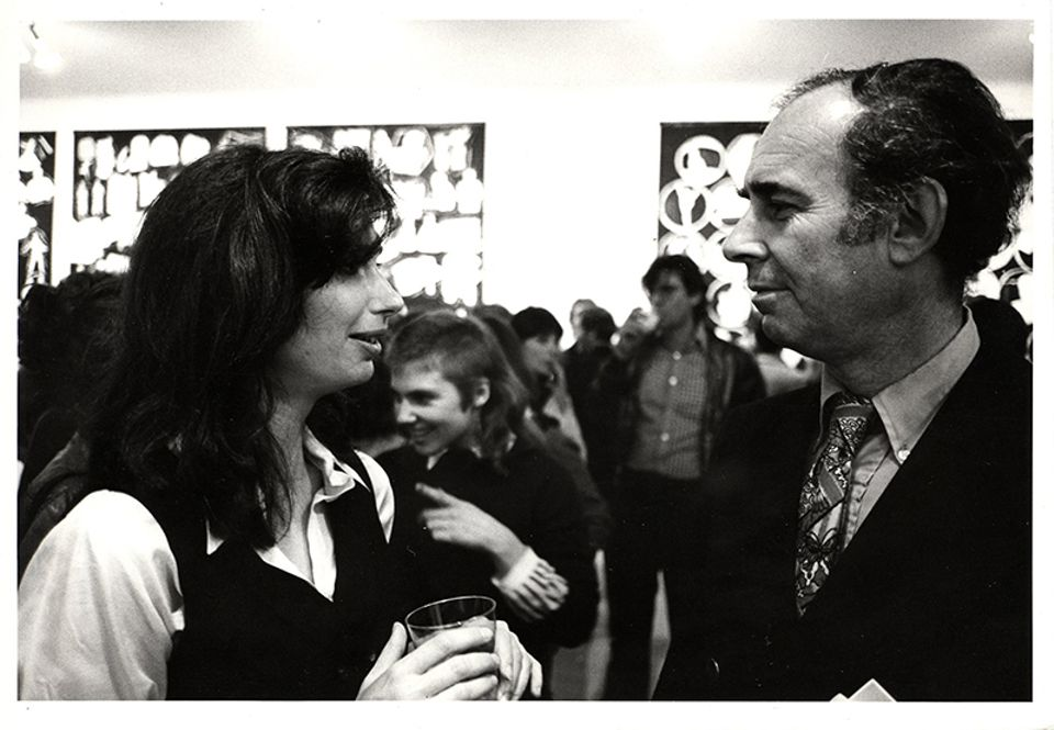Irving Sandler with the artist Sherrie Levine at an exhibition opening at Artists Space in 1977