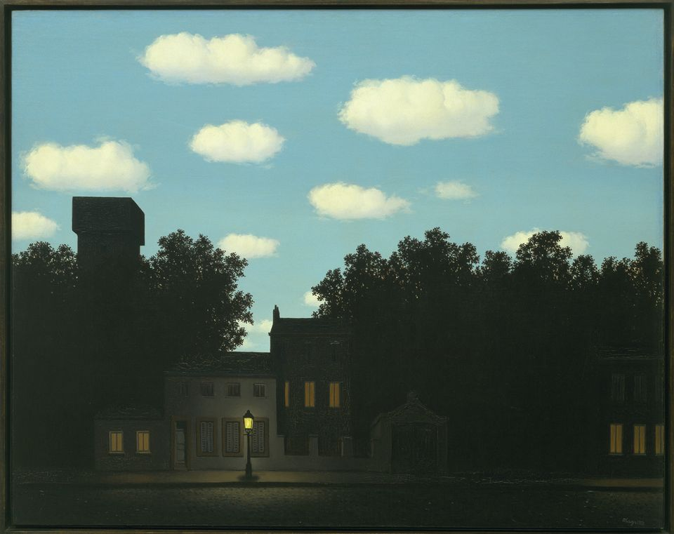 René  Magritte  ,  The  Dominion  of  Light,  1950;  oil  on  canvas;    The  Museum  of  Modern  Art,  New  York,    gift  of  D.  and  J.  de  Menil