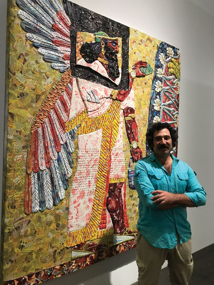Michael Rakowitz with his work at Art Basel, based on a relief from Nimrud