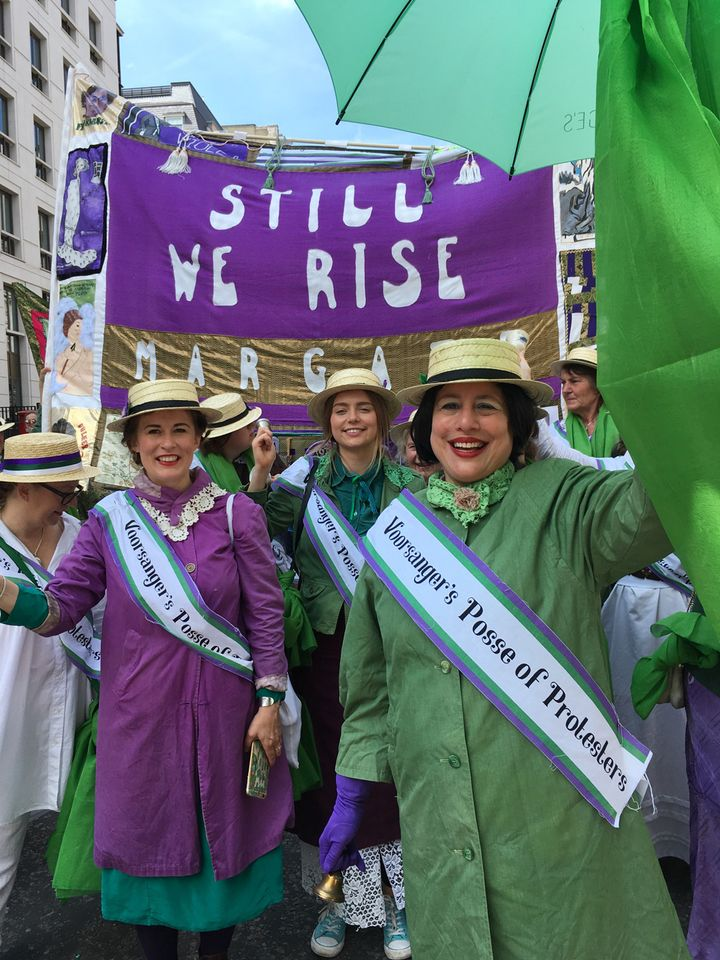 The artist Jessica Voorsanger (right) and her posse, resplendent in the colours of the suffragettes