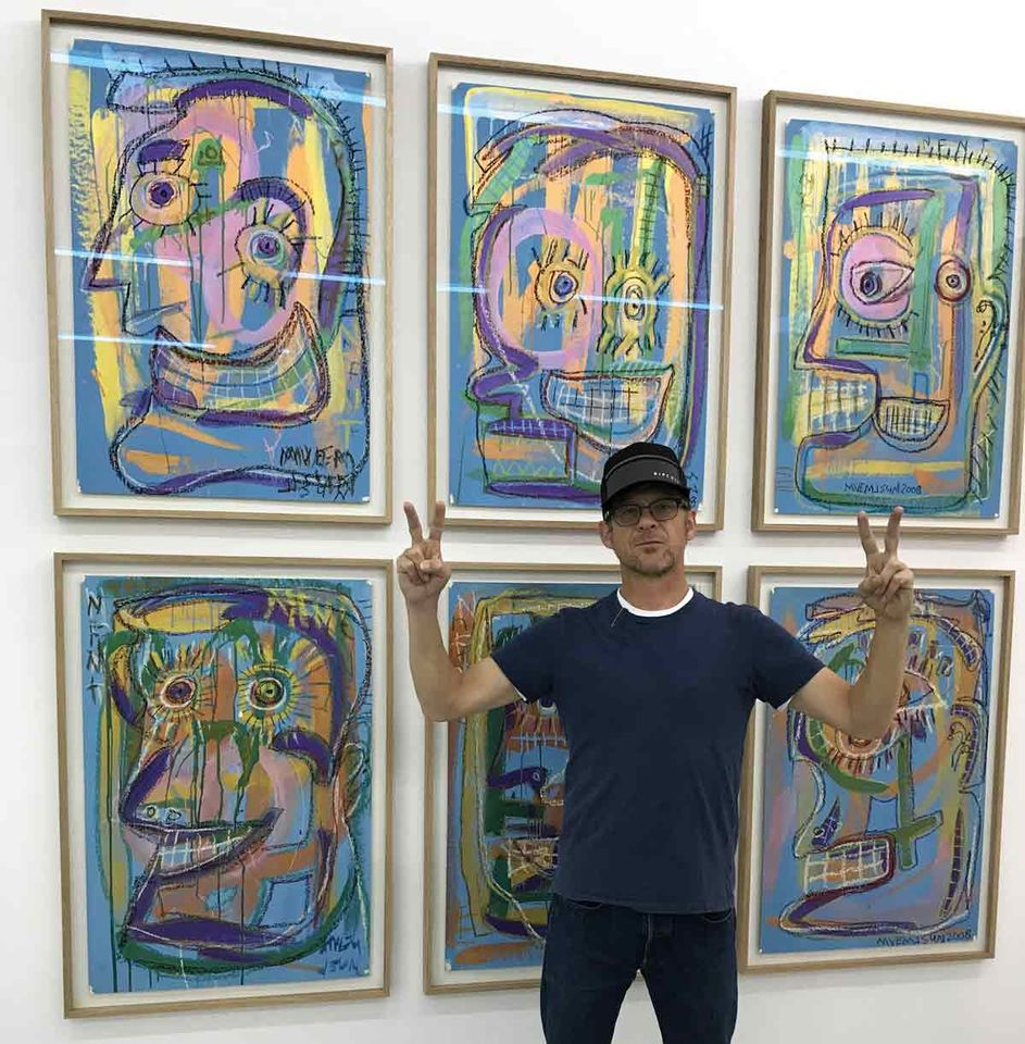 Jason Newsted in front of his works at Frame art fair