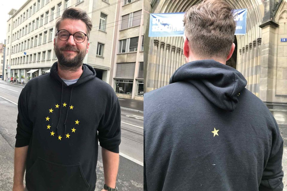 Parcour curator Samuel Leuenberger sporting a Brexit hoodie