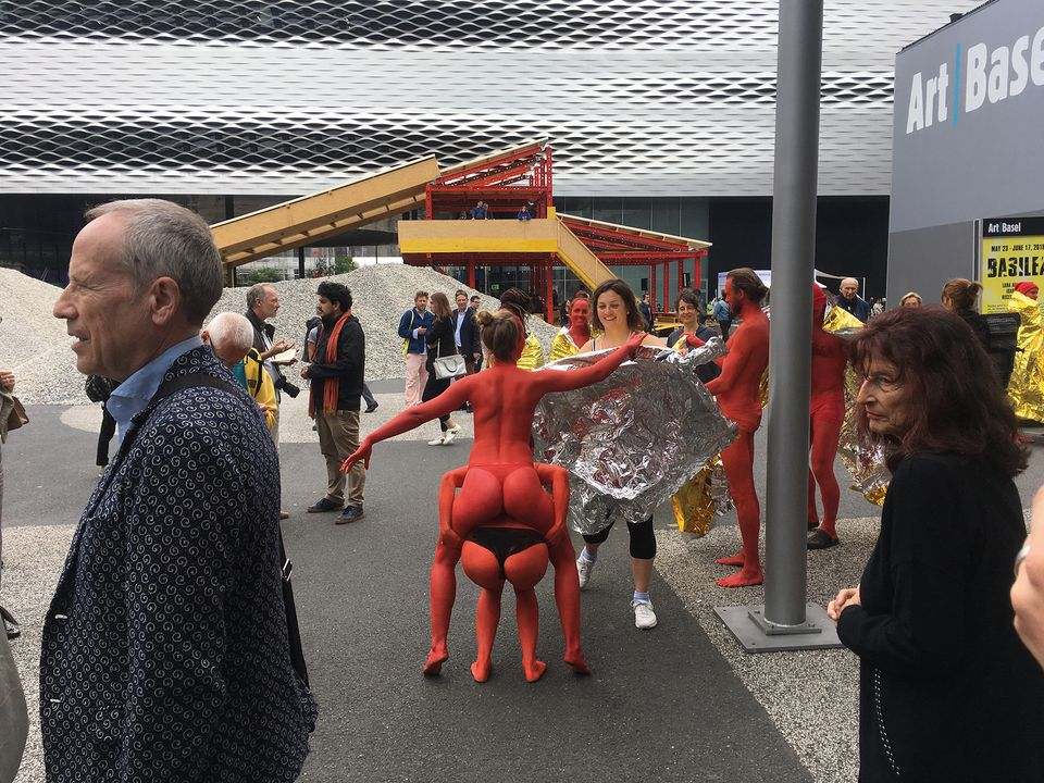 The semi-naked troupe were deemed much too cheeky for the Messeplatz
