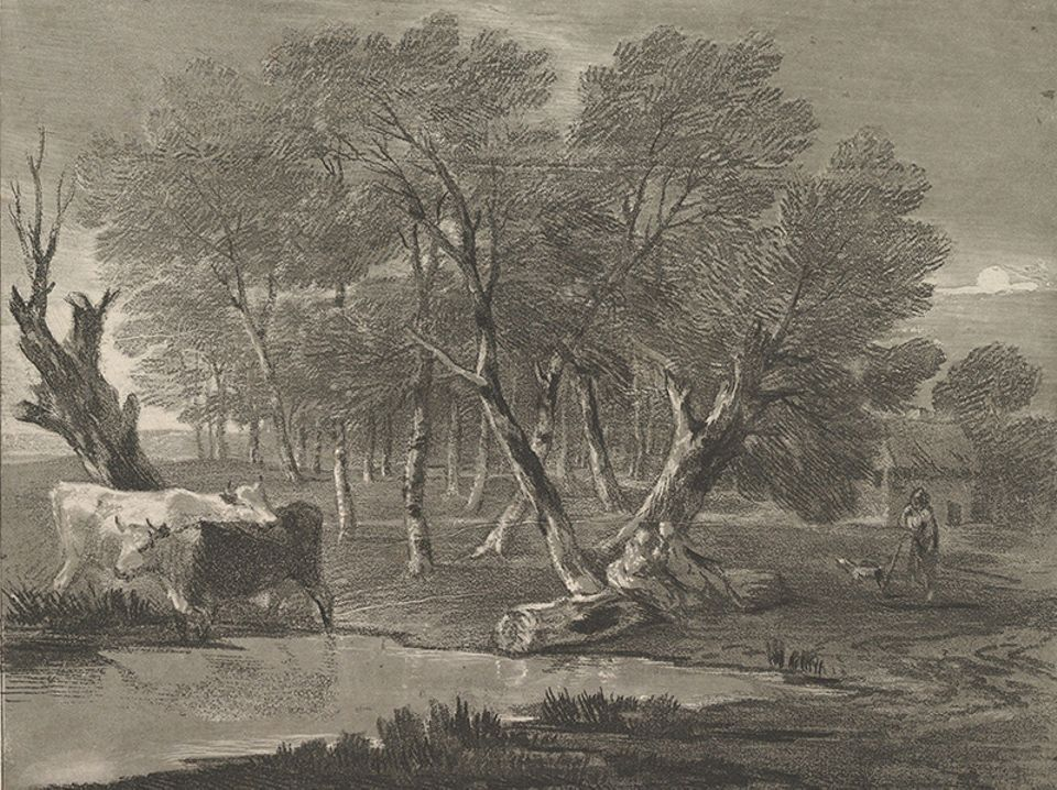 Thomas Gainsborough, Wooded Landscape with Cows beside a Pool, Figures and Cottage (around 1780)