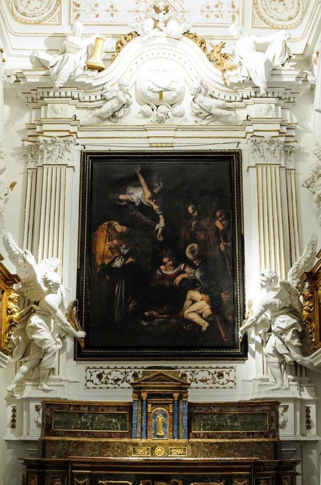 A reproduction of Caravaggio's Nativity with Saints Francis and Lawrence, made by Factum Arte, now hangs in the oratory of San Lorenzo in Palermo