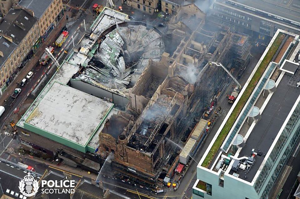 An aerial view of Glasgow School of Art on 16 June after fire ravaged the building